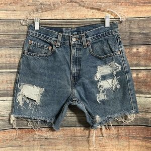 """Levis 28"""" Distressed Cut Off Frayed Denim High Waisted Shorts"""